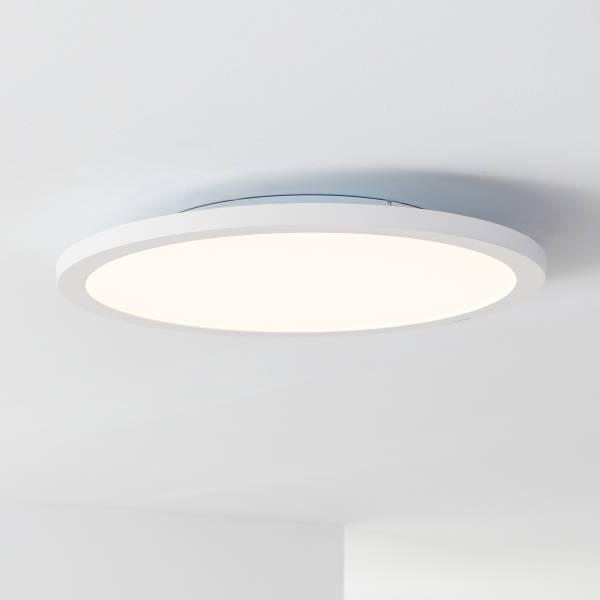 LED Panel Deckenleuchte, per Fernbedienung dimmbar, Ø50cm, 36 Watt, 2800 Lumen, 2700-6500 Kelvin aus Metall / Kunststoff in weiß