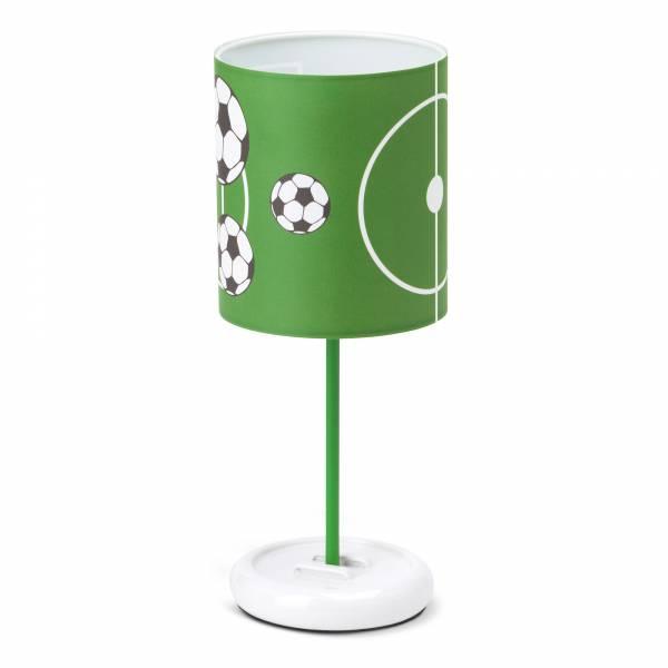LED Tischleuchte Soccer, Schirm mit Fussball Motiven, H 32 cm, Ø 12 cm, 0,72W LED integriert, Metall / Kunststoff, weiß / grün-schwarz-weiß