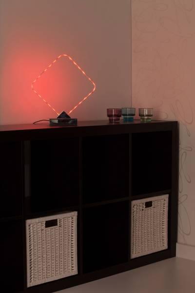 LED RGB 12W Tischleucht in chrome, mit Farbwechsel und Fernbedienung, H 35 cm, Metall, chrom