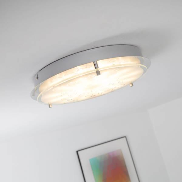 LED 12W Wand- und Deckenleuchte rund Ø 33cm, Strukturglas, 900 Lumen, 3000K warmweiß, Metall / Glas, chrom / weiß