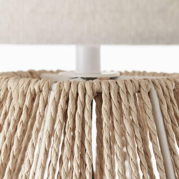 Lightbox Tischleuchte im Nature Stil, mit Schnurzwischenschalter, für LED Leuchtmittel geeignet, 1xE27 max. 42W, Textil/Papier/Metall - Natur/Beige