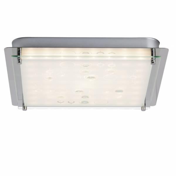 LED 12W Wand- und Deckenleuchte quadratisch 33x33cm, Strukturglas, 900 Lumen, 3000K warmweiß, Metall / Glas, chrom / weiß