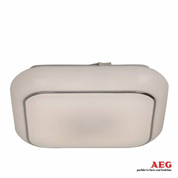 AEG 14W LED Deckenleuchte mit Zierring aus Metall, 1000 Lumen, 4000K Tageslichtweiß, Aluminium / Kunststoff, weiß / eis