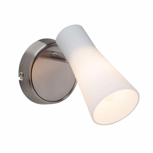 Elegante Wandleuchte mit weißem Lampenschirm aus Milchglas, 1x E14 max. 28W, Metall / Glas, eisen chrom / weiß