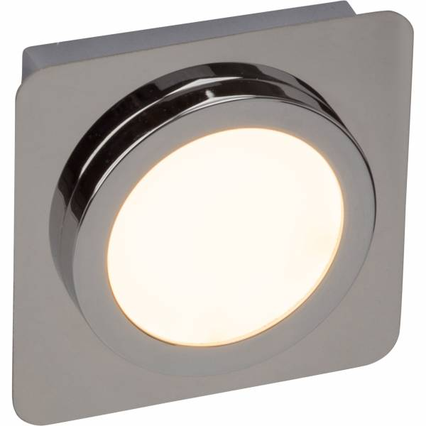 Badezimmer LED Wandleuchte IP44 Spritzwassergeschützt, 1x 5W LED integriert, 500 Lumen, 3000K warmweiß, Metall / Kunststoff, chrom / weiß