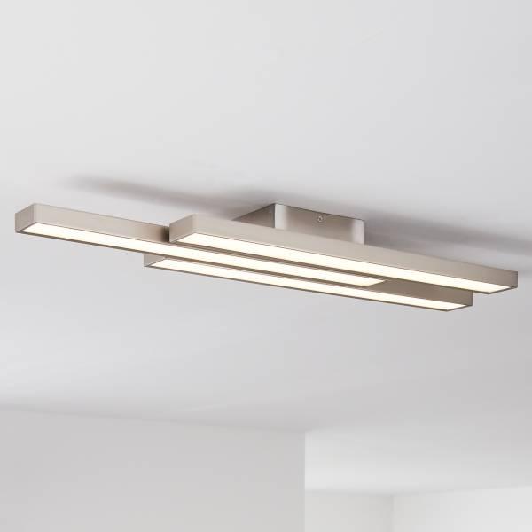 LED Deckenleuchte, 3-flammig, 3x 14W LED integriert, 3x 1200 Lumen, 2700-6200K, Metall / Kunststoff, nickel eloxiert / weiß