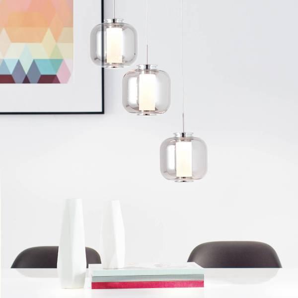 Lightbox LED Pendelleuchte, Moderne Hängelampe 3-flammig aus Rauchglas, 3 x 5.67 Watt LED Leuchtmittel integriert, warmweißes Licht, Metall / Glas