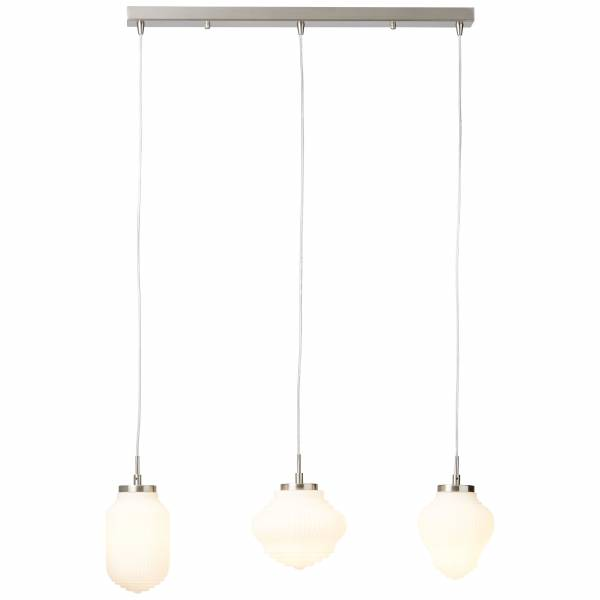 Pendelleuchte, 3-flammig, 3x E14 max. 25W, Glas / Metall, nickel / matt weiß LB00001394