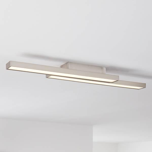 LED Deckenleuchte, 2-flammig, 2x 14W LED integriert, 2x 1200 Lumen, 2700-6200K, Metall / Kunststoff, nickel eloxiert / weiß