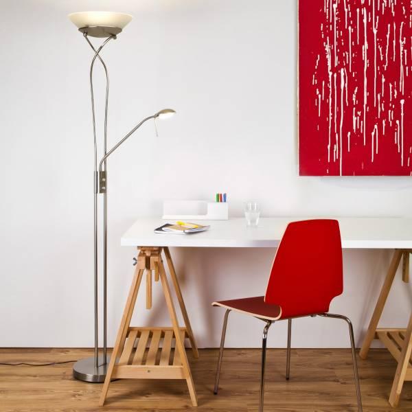 Moderner LED Deckenfluter 18W, 1600 Lumen, LED Lesearm 4,5W, 380 Lumen, 3000K warmweiß, inkl. Dimmer, Metall / Glas, eisen / weiß