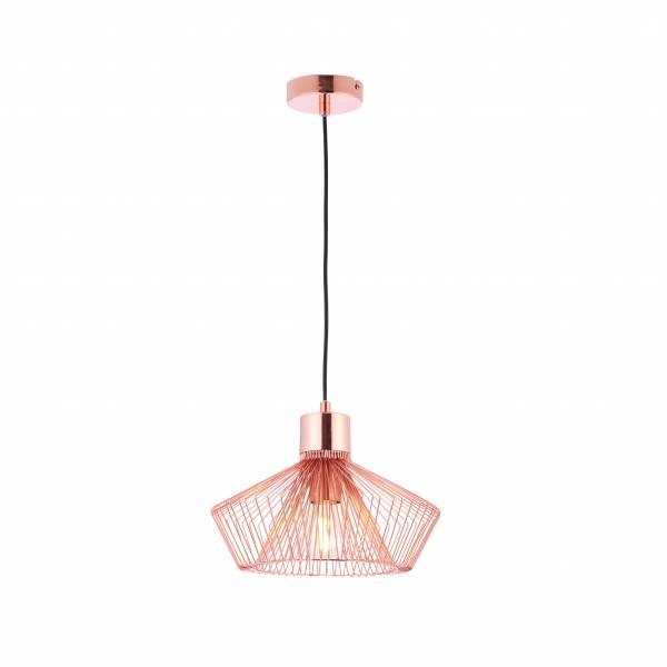 Lightbox dekorative Pendelleuchte im Urban Look, geeignet für LED und Filament Leuchtmittel, 1x E27 max. 60W, Metall - Kupfer