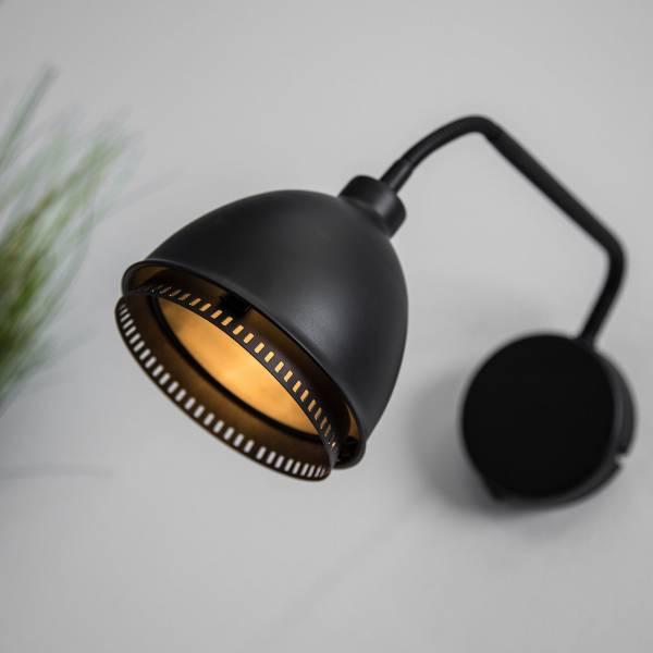 Wandleuchte im Vintage Stil schwarz matt mit Flexarm und Kippschalter G9-Sockel bis max. 40W, Metall, schwarz matt