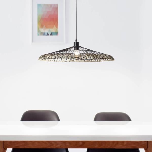 Pendelleuchte, 1-flammig, 1x E27 max. 40W, Metall / Bambus, schwarz / natur