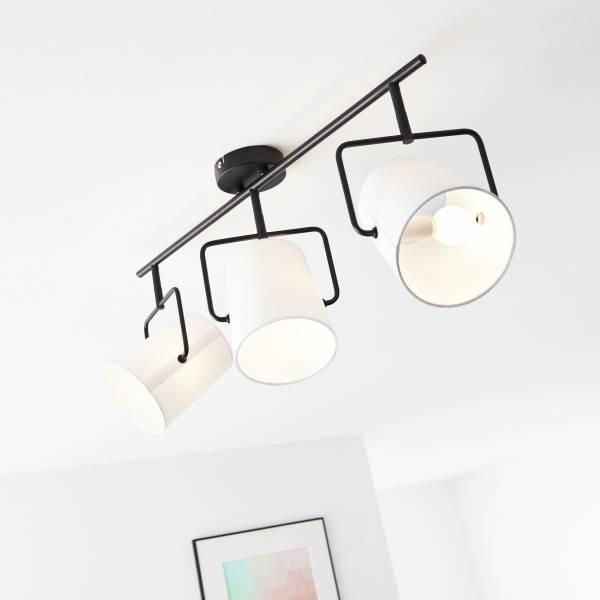 Spotrohr, 3-flammig, 3x E14 max. 25W, Metall / Textil, schwarz / weiß
