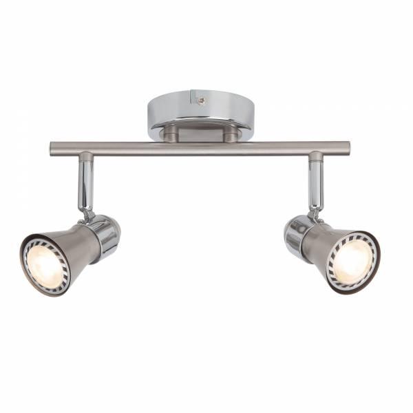 Klassisches LED Spotrohr Deckenleuchte, 2x 2.5W GU10 LED inkl., 2x 250 Lumen, 3000K warmweiß, Metall, eisen / chrom