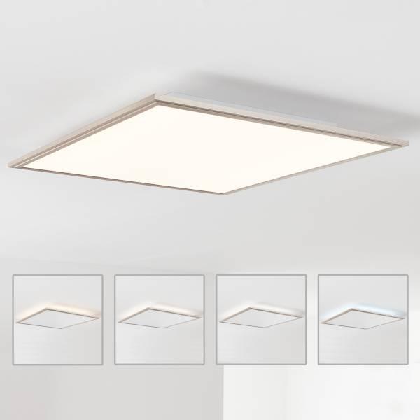 LED Panel Deckenleuchte mit indirekter Hintergrundbeleuchtung 60x60cm, 42 Watt, 3500 Lumen, 2700-6200 Kelvin aus Metall / Acryl in nickel eloxie