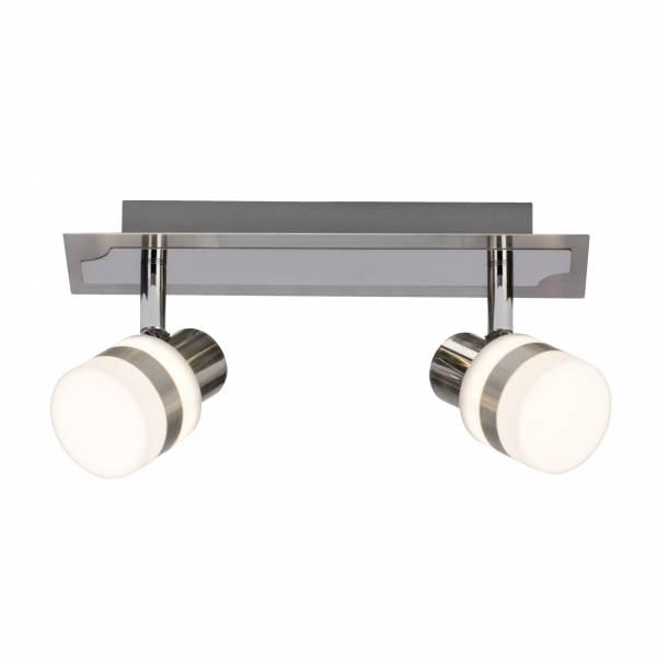 LED Spotbalken, 2-flammig, 2x 4.2W LED integriert, 2x 375 Lumen, 3000K, , Metall / Kunststoff, eisen / chrom