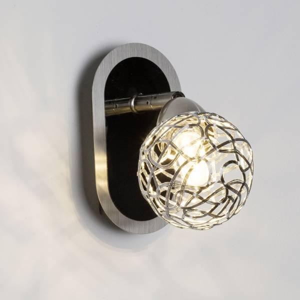 LED Wandspot, 1x 3.5W LED integriert, 1x 320 Lumen, 3000K, Metall, eisen