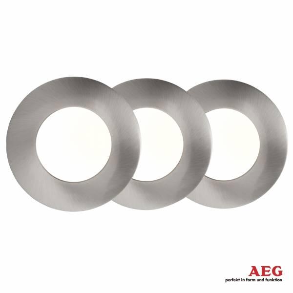 AEG LED Einbauleuchtenset: 3 Stück, fest, 3x 4W LED integriert, 3x 400 Lumen, 3000K, , Aluminium, eisen