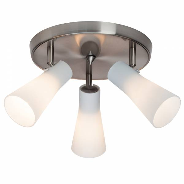 Elegante Deckenleuchte mit weißen Lampenschirmen aus Milchglas, 3x E14 max. 28W, Metall / Glas, eisen chrom / weiß