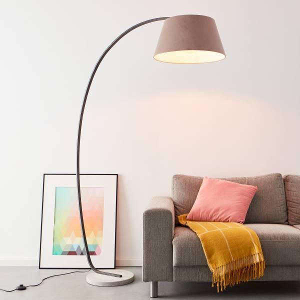 Elegante Bogenstandleuchte 1,9 x 1,2 Meter, 1x E27 max. 60 Watt aus Beton / Metal / Textil in taupe