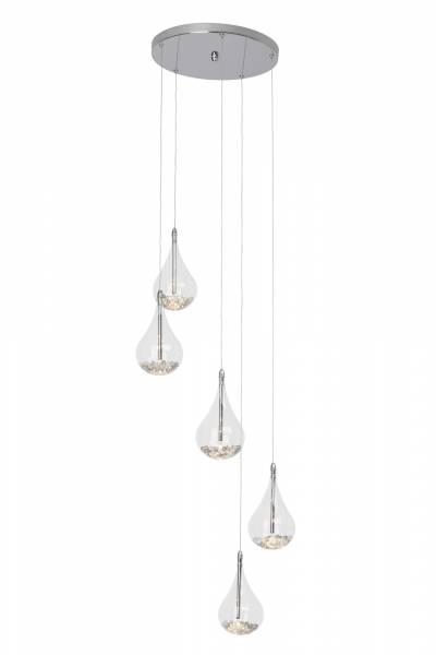 Elegante Pendelleuchte in Tropfenform, 5x 20W G4, 5x 255 Lumen, 2800K warmweiß, Metall / Glas, chrom / transparent
