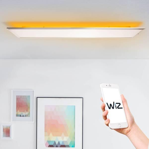 LED Deckenaufbau-Paneel 120x30cm, 1x 60W LED integriert, 1x 4500 Lumen, 2700-6500K, Metall / Kunststoff, nickel eloxiert / weiß