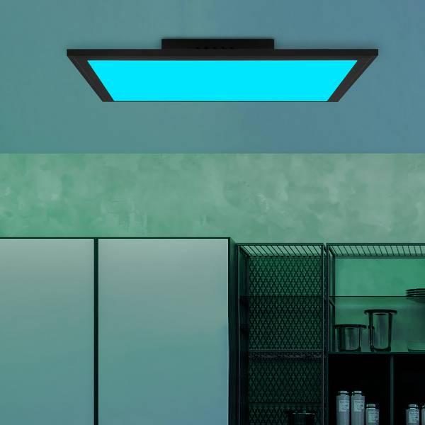 LED Deckenaufbau-Paneel 40x40cm, 24 Watt, RGB Farbwechsel per Fernbedienung steuerbar, dimmbar, 2700-6200 Kelvin; Metall / Kunststoff, Schwarz / Weiß