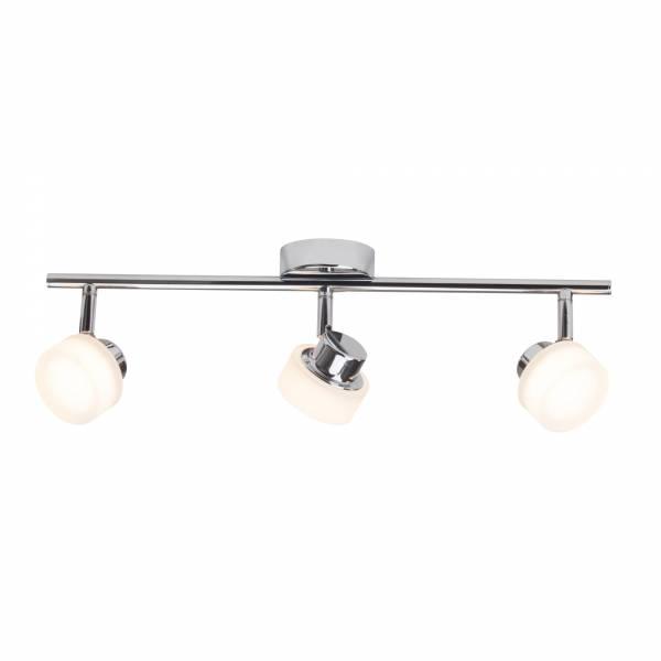 LED Spotbalken im eleganten Design, 3x 320 Lumen, 2800K wamweiß , Metall / Kunststoff, chrom