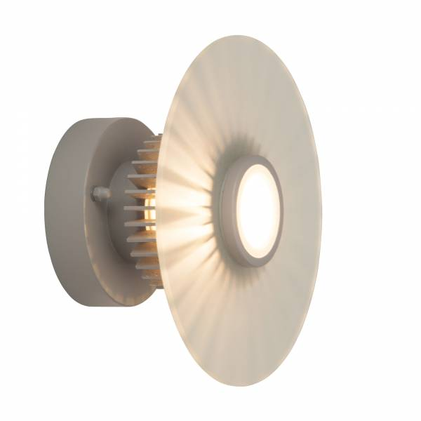 LED Außenwandleuchte mit Corona-Effekt, IP44, 1x G9 3W LED inkl., 250 Lumen, ø 20 cm, Aluminium / Glas, grau