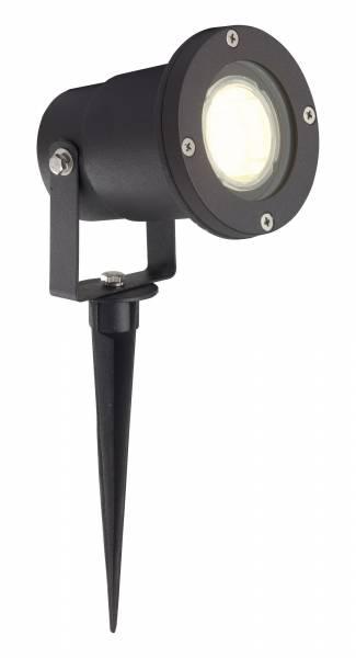 LED Außenstrahler mit Erdspieß, 1x 3W GU10 LED inkl., IP44, 250 Lumen, 3000K warmweiß, Aluminium / Glas, schwarz
