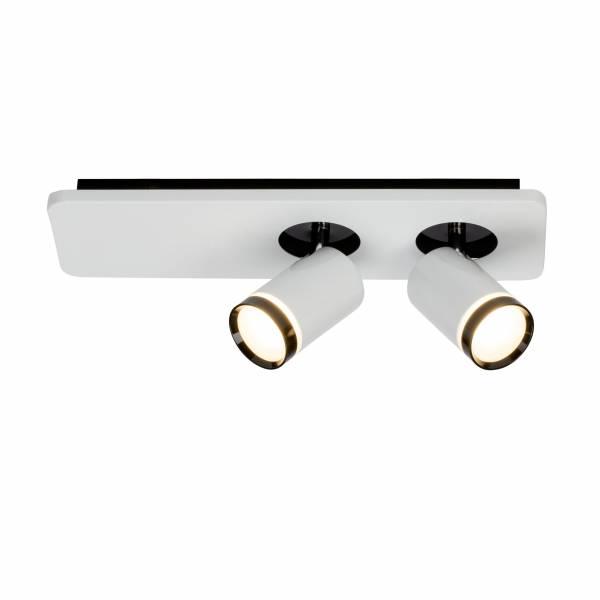 LED Spotbalken, 2-flammig, 2x 5W LED integriert (COB-Chip), 2x 450 Lumen, 3000K, , Metall / Acryl, weiß-glänzend / schwarz