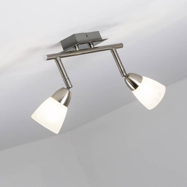 LED Spotrohr, 2-flammig, 2x 3.5W LED integriert, 2x 320 Lumen, 3000K, Metall / Glas, eisen / weiᄃ-alabaster