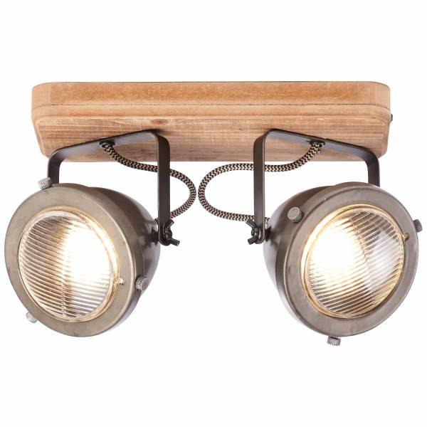 Spotbalken, 2-flammig, 2x GU10 max. 5W, , Metall / Holz, burned steel / holz