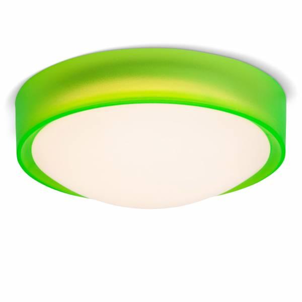 LED 10W Deckenleuchte im trendigen Design mit Leuchtrand, 750 Lumen, 3000K warmweiß, Ø 25 cm, Metall / Kunststoff, grün / weiß