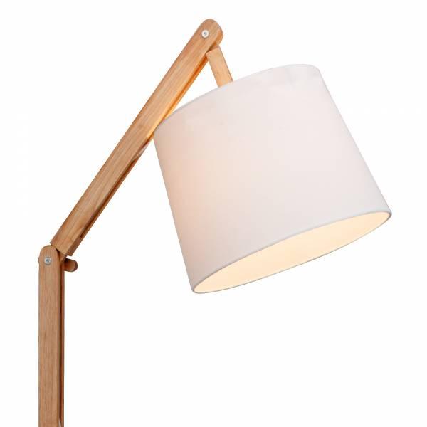 moderne holz standleuchte stehlampe mit textilschirm stoffschirm 1x e27 wei ebay. Black Bedroom Furniture Sets. Home Design Ideas