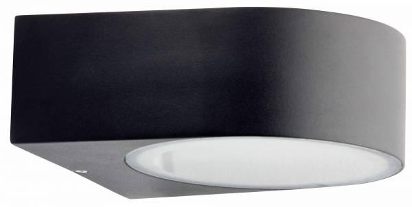 Moderne Außenwandleuchte, IP44, 1x E27 max. 60W mit Glasabdeckung, Metall / Glas, schwarz