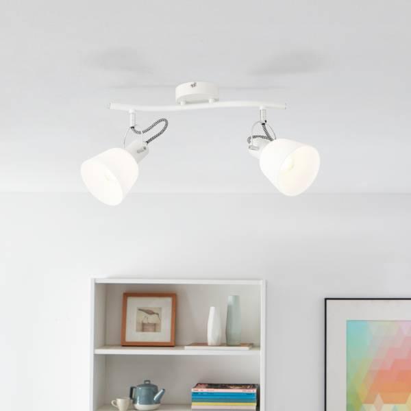 Moderne Deckenstrahler, 2x E14 max. 18 Watt in weiß Metall / Glas in weiß
