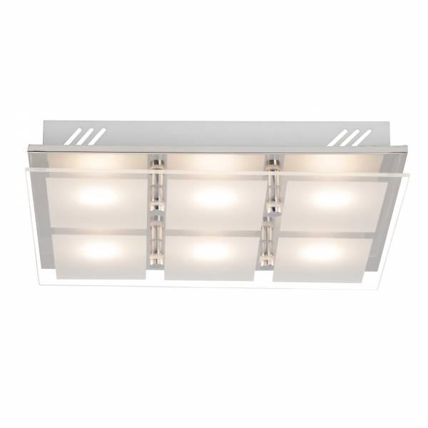Elegante LED Wand- und Deckenleuchte, 6-flammig, 6x 400 Lumen, 6x 5W, 38cm x 34cm, 3000K warmweiß, Metall / Glas, chrom