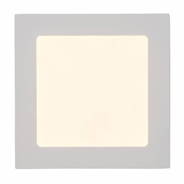 Moderne 12W LED Einbauleuchte Panel im schlichten Design, 17cm x 17cm, 1.080 Lumen, 3000K, Metall / Kunststoff, weiß