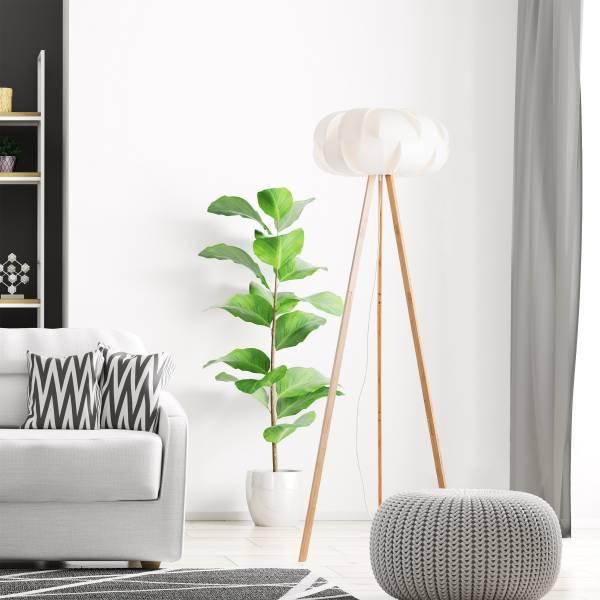Lightbox Stehleuchte im Nature Stil, mit Fußschalter, für LED Leuchtmittel geeignet, 1x E27 max. 60W, Bambus/Kunststoff - Holz hell/weiß