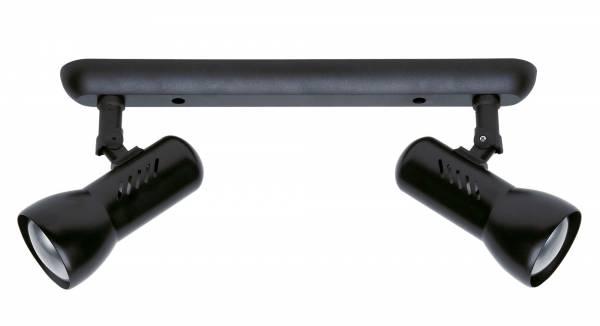 Klassischer Spotbalken im schlichten Design, 2x E27 max. 60W, Metall / Kunststoff, schwarz