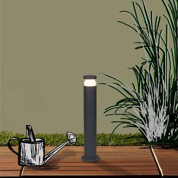LED Außensockelleuchte Wegeleuchte, 1x 7W LED, 1x 630 Lumen, 3000K warmweiß, Metall / Kunststoff, anthrazit
