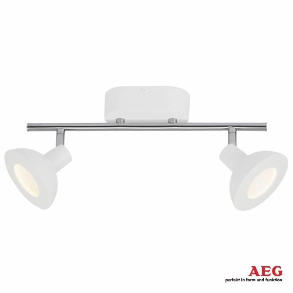 AEG LED Spotrohr, 2-flammig, 2x 5W LED integriert, 2x 500 Lumen, 3000K, , Aluminium / Kunststoff, weiß / chrom