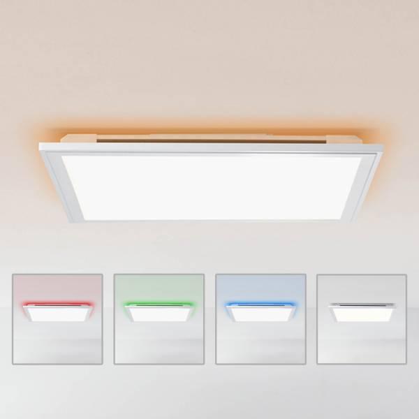 LED Panel Deckenleuchte mit RGB Hintergrundbeleuchtung, dimmbar per Fernbedienung, 40x40cm, 32 Watt aus Metall / Kunststoff in silber / weiß