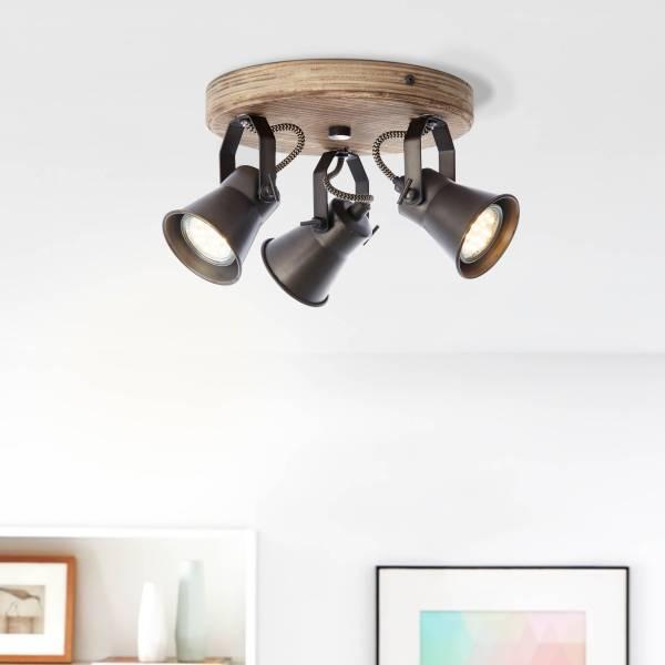 Lightbox Retro Spotrondell, 3-flammig, GU10 Fassung für max. 5 Watt, Metall / Holz, schwarz / braun