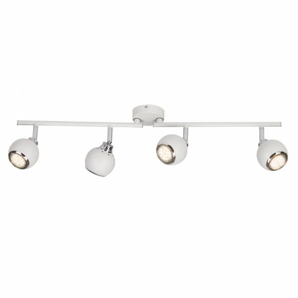 Schlichtes LED Spotrohr Deckenleuchte, drehbar, 4x 2.5W GU10 LED inkl., 4x 250 Lumen, 3000K warmweiß, Metall, weiß / chrom