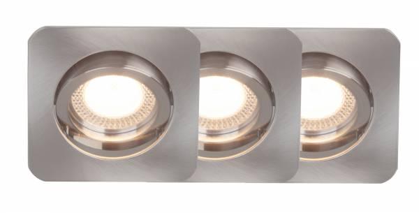 LED GU10 Einbauleuchte, 3er Set, 3x GU10 5W LED inkl., 3x 350 Lumen, 2700K warmweiß, 30° schwenkbar, Metall, eisen