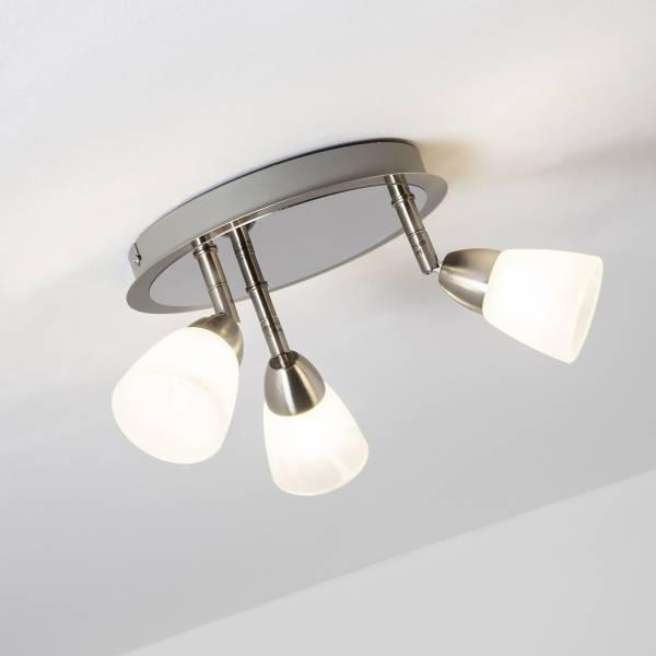 LED Spotrondell, 3-flammig, 3x 3.5W LED integriert, 3x 320 Lumen, 3000K, Metall / Glas, eisen / weiᄃ-alabaster
