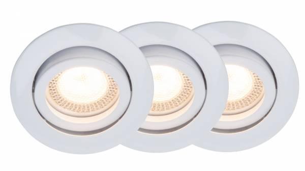 LED GU10 Einbauleuchte, 3er Set, 3x GU10 5W LED inkl., 3x 350 Lumen, 2700K warmweiß, 30° schwenkbar, Metall, weiß